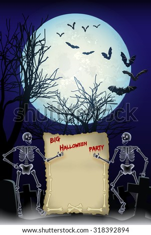 Halloween night background with skeletons, big full moon and space for Invitation to Big Halloween Party.  - stock vector