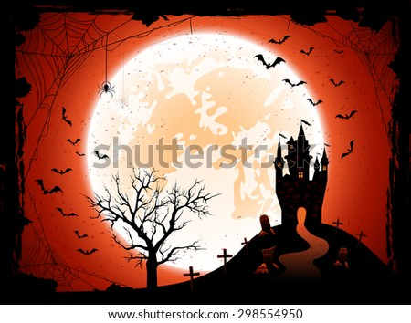 Halloween night background with the Moon, castle, cemetery and bats, illustration. - stock vector