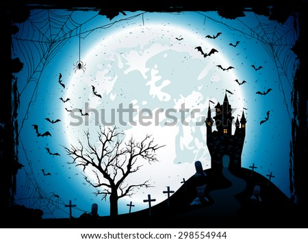 Halloween night background with the Moon, castle, cemetery, bats and spiders, illustration. - stock vector