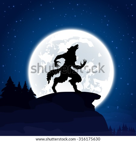 Halloween night background with werewolf and Moon, illustration. - stock vector
