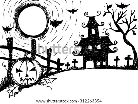 Halloween night, black castle on the moon background - stock vector