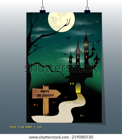 Halloween night, black castle on the moon background, illustration. - stock vector
