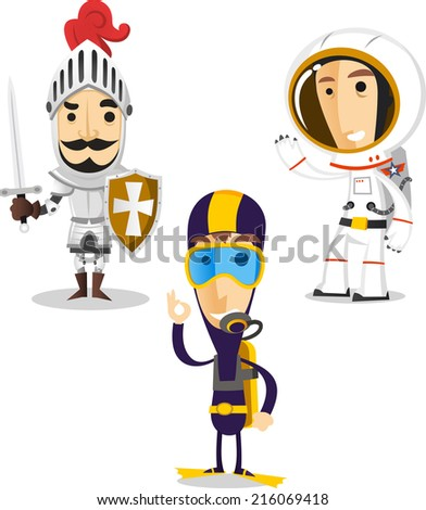 Halloween night cartoon costumes of knight, diver and astronaut  - stock vector