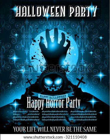 Halloween Night Event Flyer Party template with Space for text. Ideal For Horror themed parties, Clubs Posters, Music events and Discotheque flyers. - stock vector