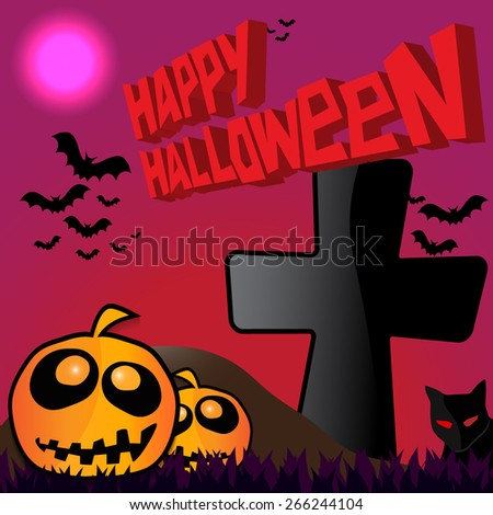Halloween night. Glowing pumpkins on the moon background. - stock vector