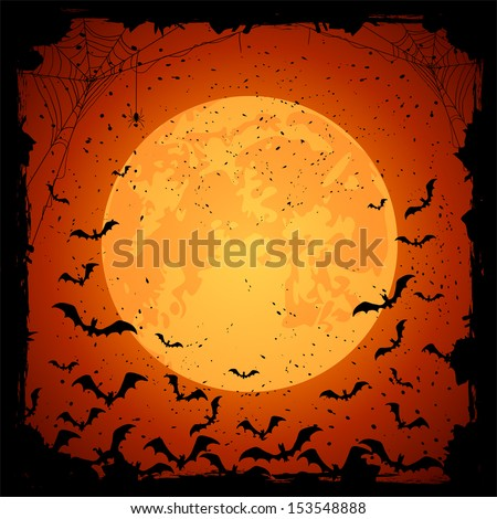 Halloween night, grunge background with Moon and bats, illustration - stock vector