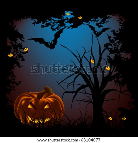 Halloween night. Halloween background vector. - stock vector