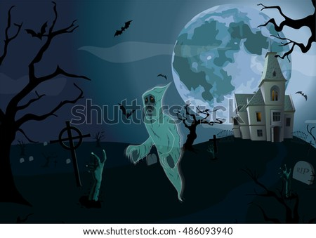 Halloween night: moon beautiful castle, gate, walking ghost, spook, cemetery graves gates zombie hands trees bat. Vector vertical closeup side view sign signboard illustration  to celebration holiday