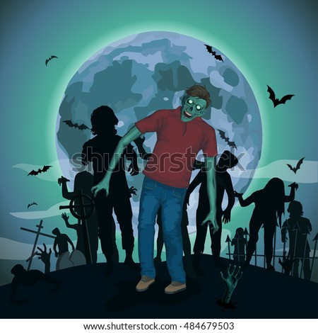 Halloween night moon zombie evil spirits monster freak beast skeleton going attack invasion hipster bat graveyard .Vector vertical closeup view front full height illustration poster signboard sketch