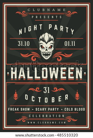 Halloween Night Party Poster Design Template Stock Vector