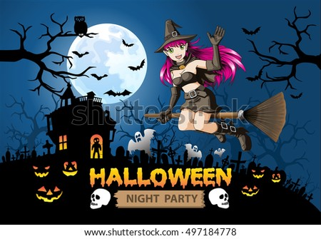 Halloween night party witch on orange full moon design for holiday festival vector illustration.