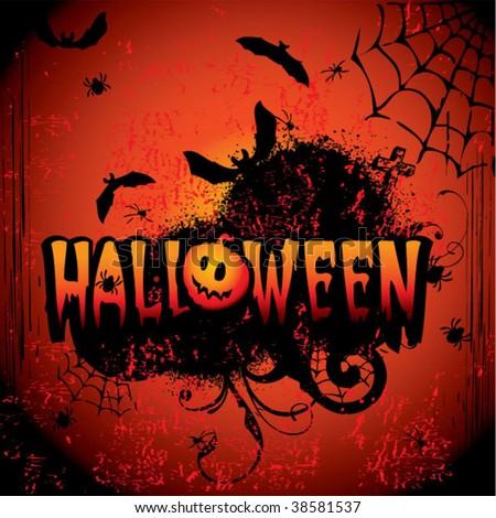 Halloween night. Vector art-illustration on a red background. - stock vector