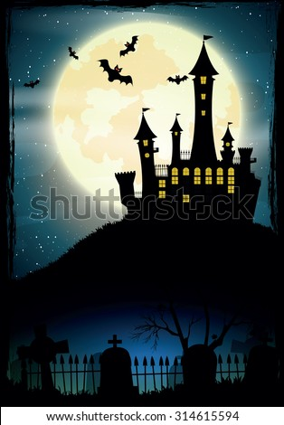 Halloween night, vector illustration.