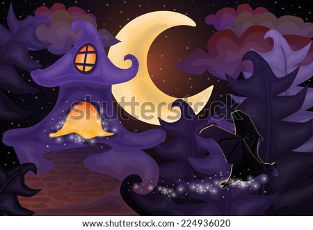 Halloween night wallpaper with haunted house, vector illustration - stock vector