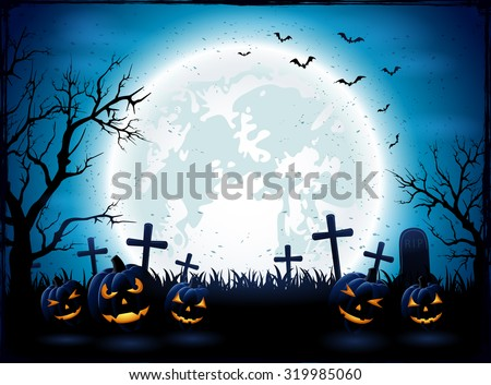 Halloween night with blue Moon and pumpkins, illustration. - stock vector