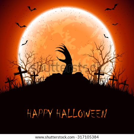 Halloween night with Moon, bats and hand on the cemetery background, illustration. - stock vector