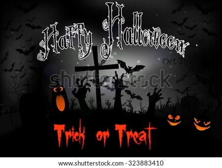 Halloween night with pumpkins and bats on graveyard. Vector