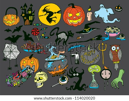 Halloween Objects Collection (hand drawn vector) - stock vector