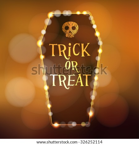 Halloween or Dia de los muertos (Day of the Dead) card, invitation with illuminated coffin and scull, vector illustration background - stock vector