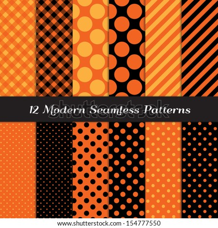 Halloween Orange and Black Jumbo Polka Dot, Gingham and Stripes Seamless Patterns. Perfect as Halloween or Thanksgiving Background. Pattern Swatches made with Global Colors. - stock vector