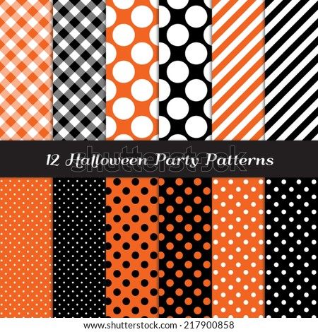 Halloween Orange, Black and White Jumbo Polka Dot, Gingham and Stripes Patterns. Perfect for Halloween Party Invite or Flyer Background. Pattern Swatches made with Global Colors. - stock vector