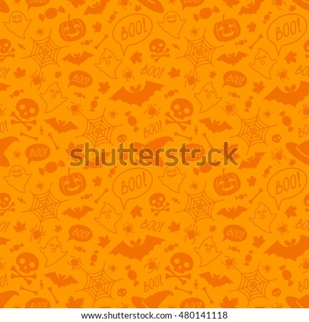 Halloween orange festive seamless pattern. Endless background with pumpkins, skulls, bats, spiders, ghosts, bones, candies, spider web and speech bubble with boo