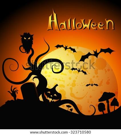 Halloween orange greeting card, placard, banner with pumpkins, moon, mushrooms. Vector illustration - stock vector