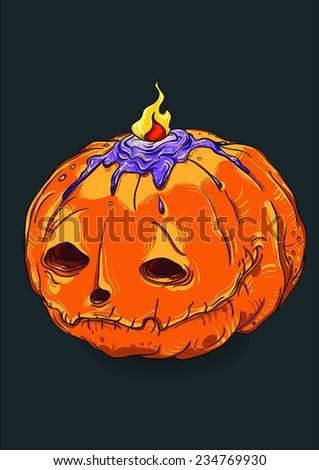 halloween orange pumpkin - stock vector