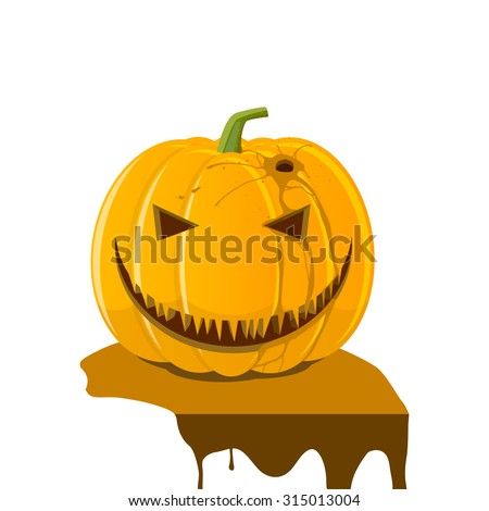 Halloween, orange pumpkin jack-o-lantern with wound