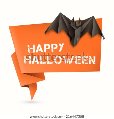 Halloween origami speech bubble with origami bat. Vector illustration, eps10. - stock vector