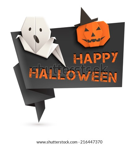 Halloween Origami Speech Bubble With Ghost And Pumpkin Vector Illustration Eps10