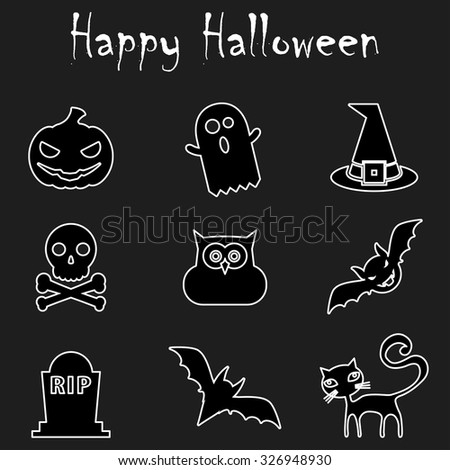 Halloween Outline Icons. Happy Halloween. Halloween Outline Icons vector isolated on black background. Flat Line Icons For Halloween Icons Vector Illustration. Elements for design. - stock vector