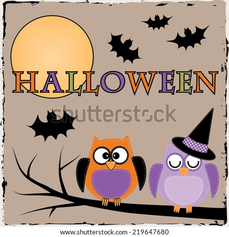 Halloween owls with bats and moon on brown grunge background - stock vector