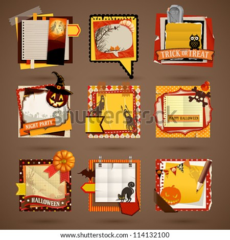 Halloween Paper notes. Scrapbooking elements. - stock vector