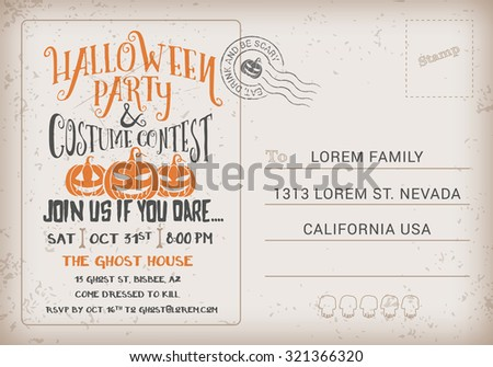 Halloween party costume contest invitation template stock vector halloween party and costume contest invitation template halloween rsvp card vintage background vector illustration stopboris Images