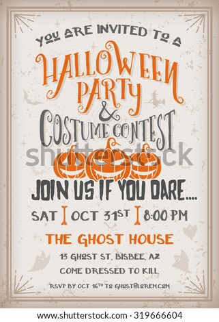 Halloween party and costume contest Invitation with scary pumpkins design. Grunge texture easy to remove. Vintage Background Vector Illustration - stock vector