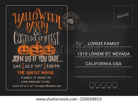halloween party costume contest postcard invitation stock vector