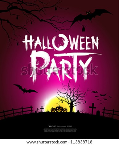 Halloween party at night background, vector illustration - stock vector