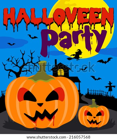 Halloween party background with pumpkin,blue - stock vector