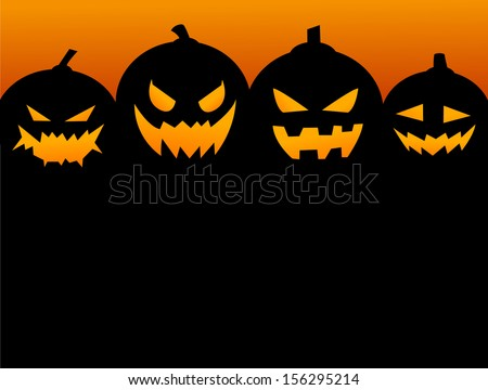 Halloween Party Background with Pumpkins - stock vector