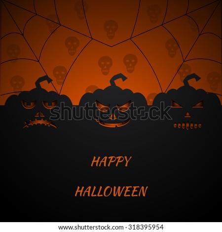 Halloween Party Background with Pumpkins vector eps 10 - stock vector