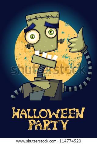 Halloween Party banner with frankenstein monster. - stock vector