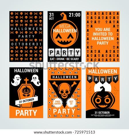Halloween party banners flyers invitation cards stock vector halloween party banners flyers invitation cards coupons halloween party invitation vector stopboris Choice Image