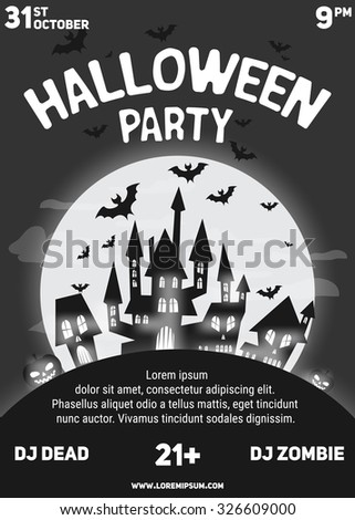 halloween party black white flyer template stock vector 326609000