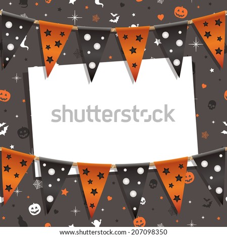 Halloween party card decoration with seamless background pattern, bunting and card for your text, with clipping path and transparencies