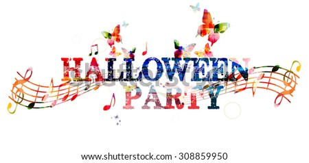 Halloween party colorful inscription - stock vector