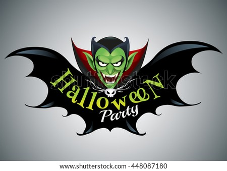 Halloween Party Design template with dracula and place for text logo design.-vector illustration - stock vector