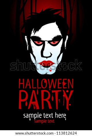 Halloween Party Design template with vampire. - stock vector