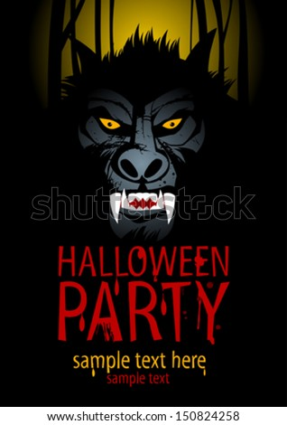 Halloween Party Design template with werewolf. - stock vector