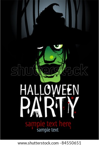 Halloween Party Design template with witch and place for text. - stock vector